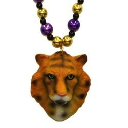 36in LSU Ceramic Tiger Head with Purple/ Gold Beads