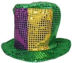 8in Tall 13in Long x 13in Wide Sequin Mardi Gras Top Hat