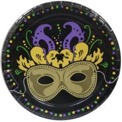 7in Mardi Gras Mask Paper Luncheon Plates
