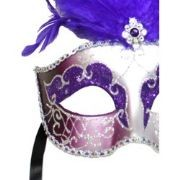 Purple and Silver Paper Mache Venetian Masquerade Mask With Glitter Accents and With Purple Large Os