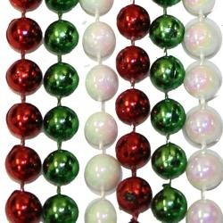 7mm 33in Metallic Red, Green, and White AB Beads