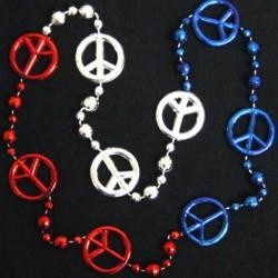 33in Metallic Red/ Silver / Blue Section Peace Sign Beads