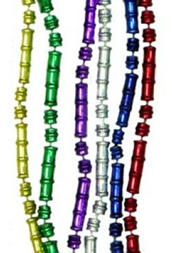 33in Metallic 6 Assorted Color Bamboo Beads