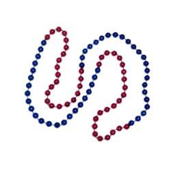 33in 7mm Round 4 Section Metallic Red/ Metallic Blue Beads