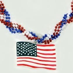 33in Red/ Blue/ Pearl Braided w/ USA Flag Medallion