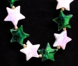 42in White AB/ Green St Patrick Star Beads