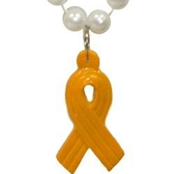 36in 7.5mm Pearl Bead w/ Yellow Ribbon