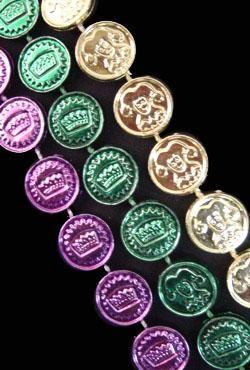 33in Metallic Purple/ Green/ Gold Casino Coins/ Dollar/ Money Beads