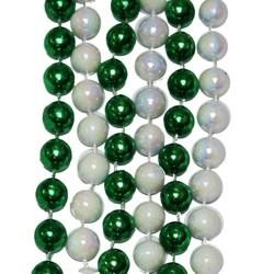 42in 12mm Round Metallic Green/ White AB Beads