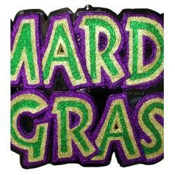 28in x 21in Mardi Gras Glittered Wall Plaque