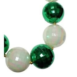 48in 80mm Disco Ball Shape Green/ White AB Beads