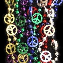 33in Metallic Assorted Color Peace Sign Beads