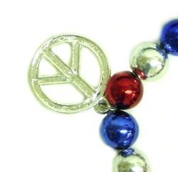 Metallic Red/ Blue/ Silver Peace Sign Bracelets