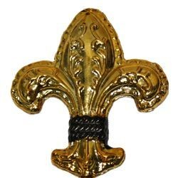 2 1/2in Tall x 2in Wide Metallic Black and Gold Plastic Fleur-De-Lis Ornament