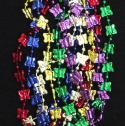 33in Metallic 6 Assorted Color Butterfly Beads