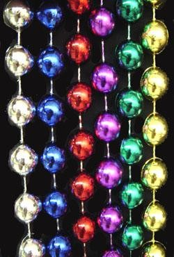 60in 10mm Round Metallic 6 Assorted Color Beads