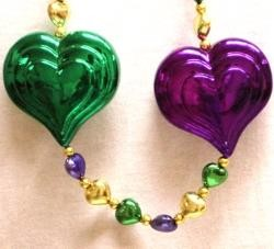 Large Heart Mardi Gras Necklace