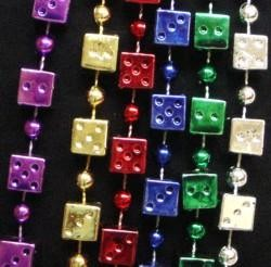 12mm 48in Metallic Assorted Color Jumbo Casino Dice Beads