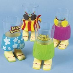 6in 20oz Luau Character Cups