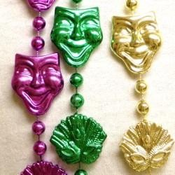48in Metallic Purple/ Green/ Gold Comedy/ Tragedy/ Feather Mask Beads