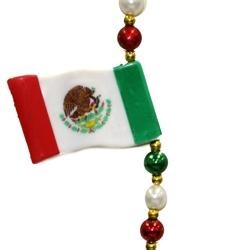 The 4 Mexican flags are separated with red beads, white pearl beads, and green beads. These flag beads are great for Cinco De mayo events