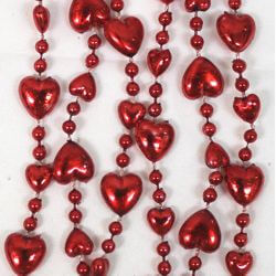 12mm 33in Metallic Red Heart Beads