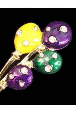 2.5in x 1in Purple/ Green/ Gold Balloons w/ Rhinestone Pin/ Brooch