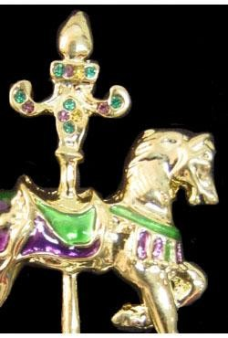 1.75in x 2in Purple/ Green/ Gold Carousel Horse/ Pony w/ Rhinestone Pin/ Brooch
