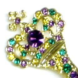 3in x 1in Purple/ Green/ Gold Rhinestone Scepter Pin/ Brooch