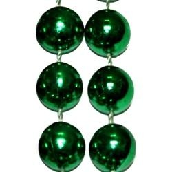 42in 14mm Round Metallic Green Beads