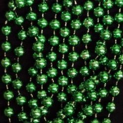 72in 14mm Round Metallic Green Beads