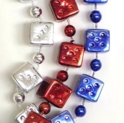72in 16mm Metallic Red/ Blue/ Silver Jumbo Casino Dice Beads