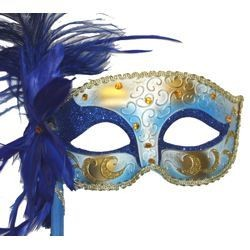 Blue and Gold Venetian Masquerade Mask on a Stick With a Large Ostrich Feather
