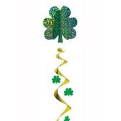 48in Metallic Green/ Gold St Patricks Shamrock/ Clover Giant Spiral Decoration