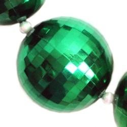 48in 60mm Disco Ball Shape Metallic Green w/ White AB Spacers Beads