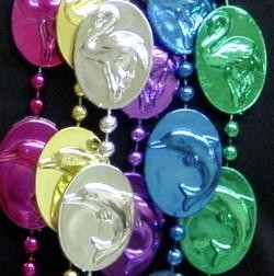 42in Metallic 6 Assorted Color Tropical Animal Medallion Beads