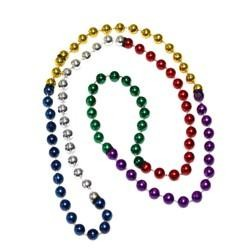33in 7mm Round 6 Section Metallic Rainbow Beads