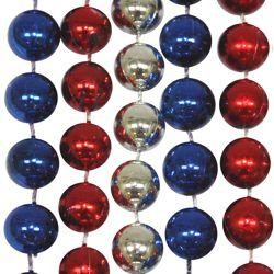 Mardi Gras beads in patriotic red, silver and blue colors