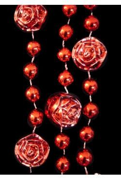 36in Metallic Red Rose Beads