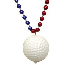 33in 7mm Met Section Red/ Blue/ Silver Bead w/Plastic Golf Ball