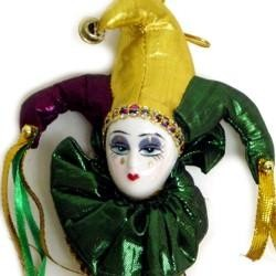 5in x 2.5in Purple/ Green/ Gold Jester Doll