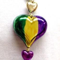 42in Metallic Purple/ Green/ Gold Heart Necklace