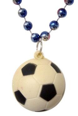33in Metallic Red/ Blue/ Silver Tricolor Bead w/ Foam Soccer Ball