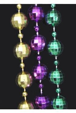 12mm 60in Purple, Green, Gold Disco Ball Beads