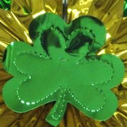 15in St Patricks Metallic Gold/ Green Shamrock/ Clover Hanging Fan Burst