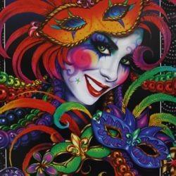 Mardi Gras Ceramic Face Poster