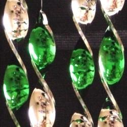16in x 7in Fluffy Wind Chime Metallic Silver/ Green