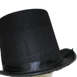 6in Tall Black Felt Top Hat With Band