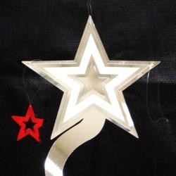 25in Spiral Metallic Red/ Blue/ Silver Star Decoration