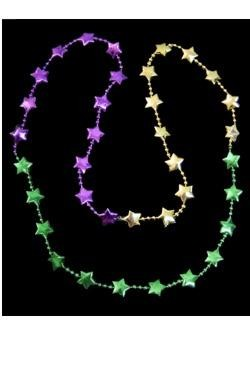36in Sectioned Purple, Green, and Gold Star Beads
